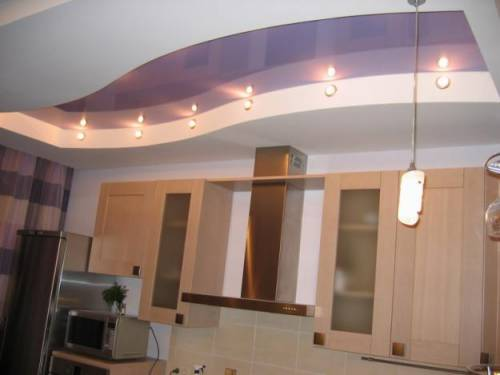 Дизайн потолка кухни из гипсокартона